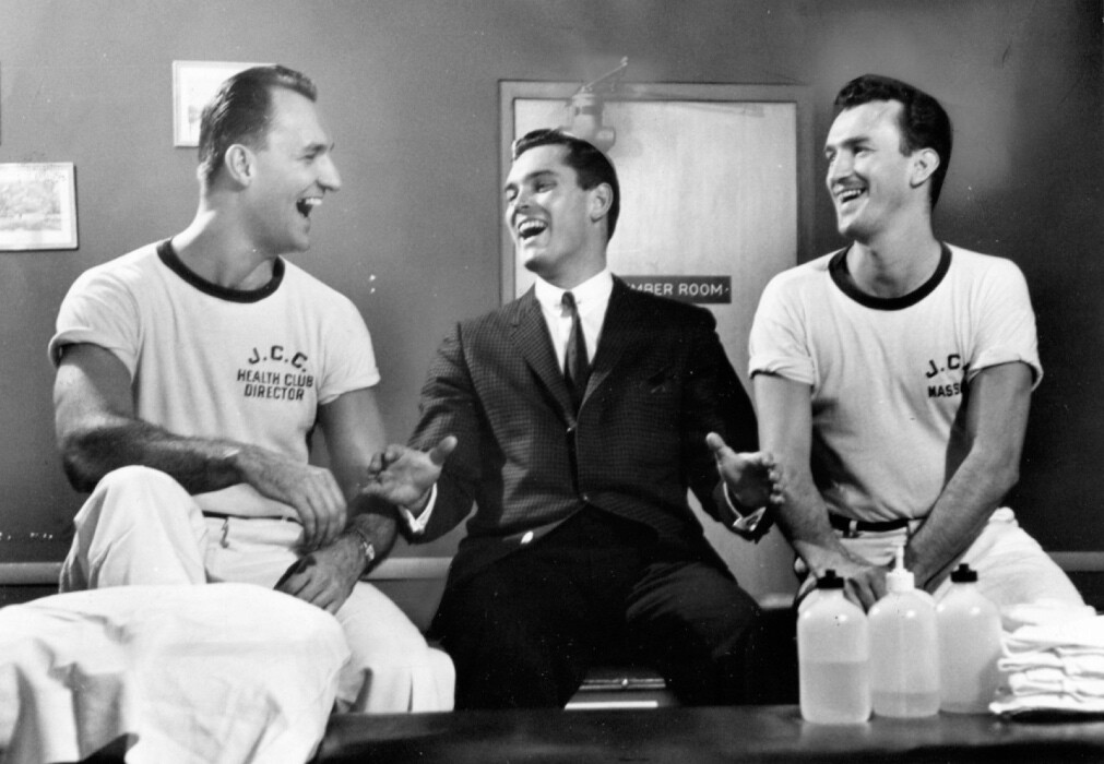 Jeffrey Hunter chats with two old high school friends, Karl and William Kintzeles