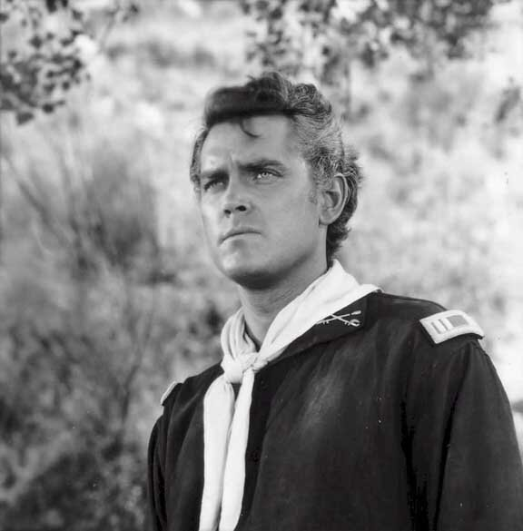"Jeffrey Hunter as Lieutenant Benteen in ""Custer of the West"""