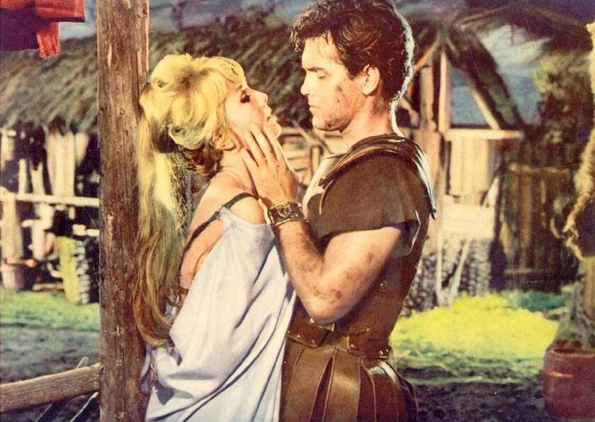 "Jeffrey Hunter with Mylene Demongeot in ""Gold for the Caesars"""
