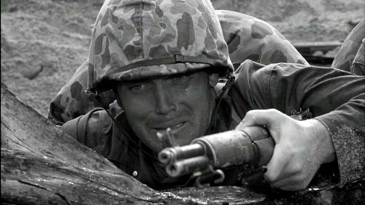 """Jeffrey Hunter on the battlefield in """"Hell to Eternity"""""""