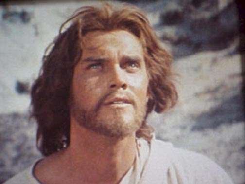 King of Kings  Jeffrey Hunter  closeup from temptation in the desert scene