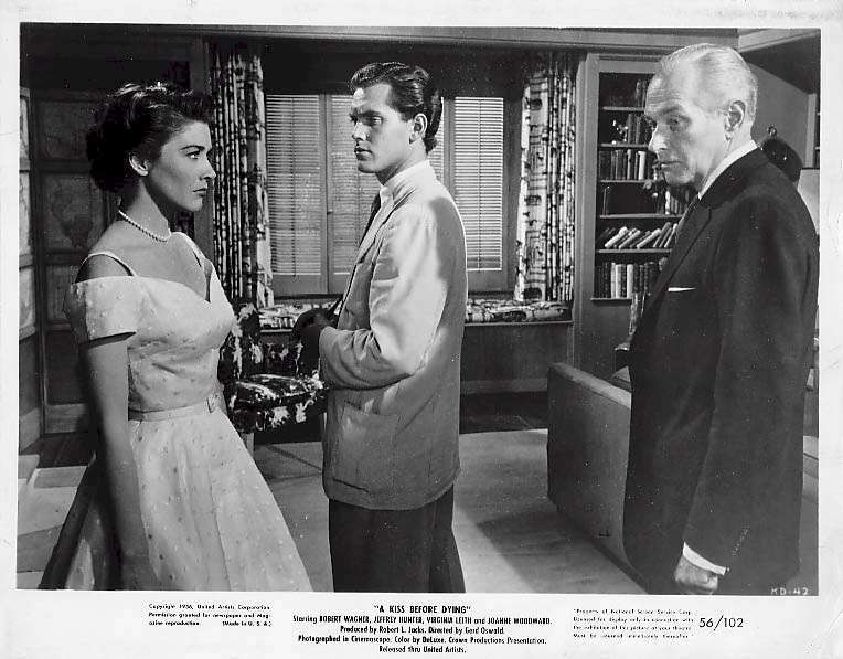 """Jeffrey Hunter with Virginia Leith and George Macready in """"A Kiss Before Dying"""""""
