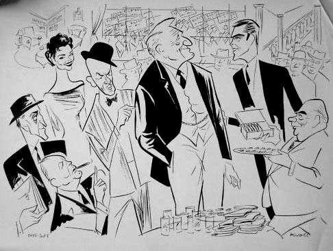 "Al Hirschfeld illustration of cast members of ""The Last Hurrah""."