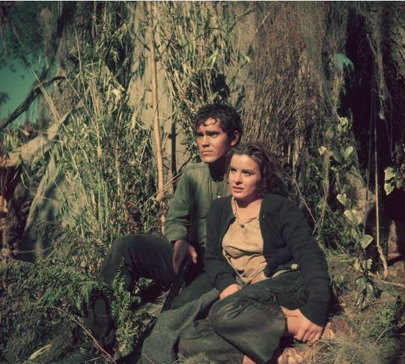 Lure of the Wilderness  Jeffrey Hunter  Jean Peters  on location