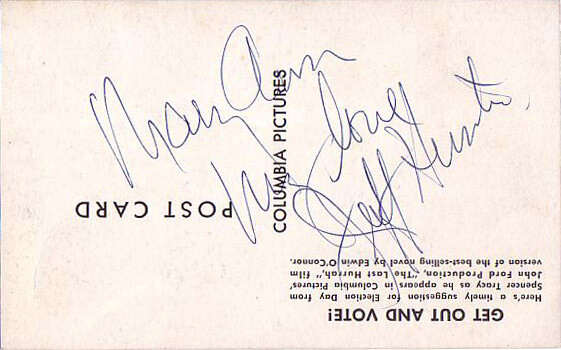 Jeffrey Hunter  autographed postcard