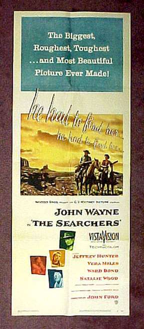 The Searchers  Jeffrey Hunter  John Wayne  movie poster
