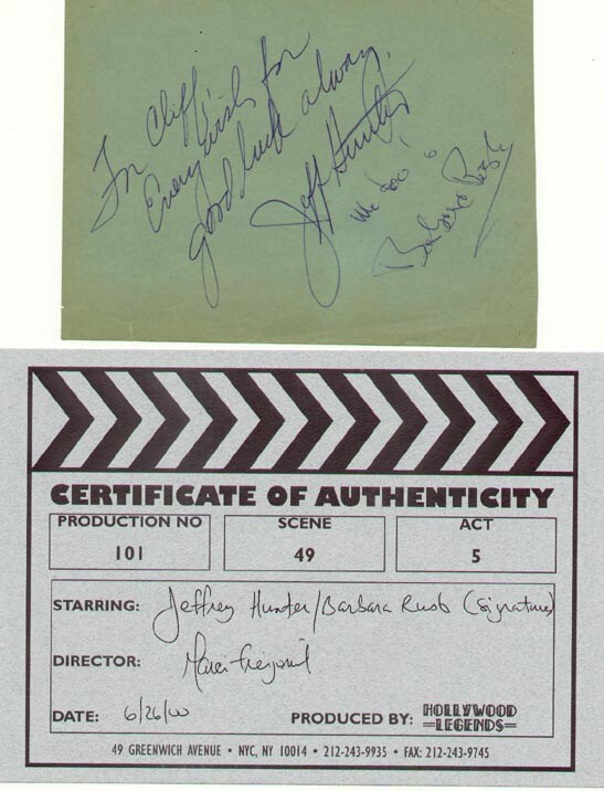 Jeffrey Hunter  Barbara Rush  autographs